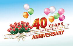 40 years anniversary. Greeting card with 40th anniversary with bouquet of roses Royalty Free Stock Images