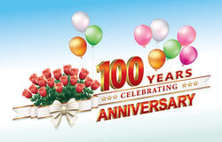 100 years anniversary. Greeting card with 100th anniversary with bouquet of roses Royalty Free Stock Images