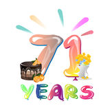 71 years anniversary greeting card. Vector illustration royalty free illustration