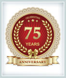 75 years anniversary. Greeting card with 75 year anniversary with a laurel wreath and bow Royalty Free Stock Photos
