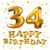 34 years anniversary, happy birthday joy celebration. 3d Illustration with brilliant gold balloons & delight confetti for your uni. Vector happy birthday 34th Royalty Free Stock Photos