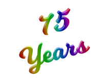 75 Years Anniversary, Holiday Calligraphic 3D Rendered Text Illustration Colored With RGB Rainbow Gradient Royalty Free Stock Photography
