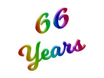 66 Years Anniversary, Holiday Calligraphic 3D Rendered Text Illustration Colored With RGB Rainbow Gradient Royalty Free Stock Images