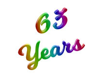 63 Years Anniversary, Holiday Calligraphic 3D Rendered Text Illustration Colored With RGB Rainbow Gradient. Isolated On White Background Royalty Free Stock Image
