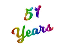 51 Years Anniversary, Holiday Calligraphic 3D Rendered Text Illustration Colored With RGB Rainbow Gradient. Isolated On White Background Royalty Free Stock Images