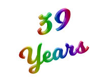 39 Years Anniversary, Holiday Calligraphic 3D Rendered Text Illustration Colored With RGB Rainbow Gradient. Isolated On White Background Royalty Free Stock Photo