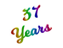 37 Years Anniversary, Holiday Calligraphic 3D Rendered Text Illustration Colored With RGB Rainbow Gradient. Isolated On White Background Royalty Free Stock Photos