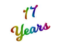 17 Years Anniversary, Holiday Calligraphic 3D Rendered Text Illustration Colored With RGB Rainbow Gradient. Isolated On White Background Royalty Free Stock Photo