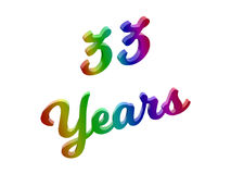33 Years Anniversary, Holiday Calligraphic 3D Rendered Text Illustration Colored With RGB Rainbow Gradient. Isolated On White Background Royalty Free Stock Image