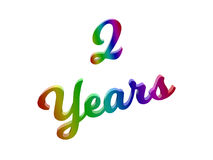 2 Years Anniversary, Holiday Calligraphic 3D Rendered Text Illustration Colored With RGB Rainbow Gradient. Isolated On White Background Royalty Free Stock Photos