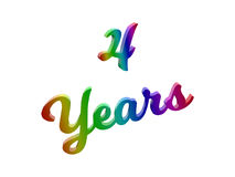 4 Years Anniversary, Holiday Calligraphic 3D Rendered Text Illustration Colored With RGB Rainbow Gradient. Isolated On White Background Stock Photo