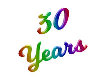 30 Years Anniversary, Holiday Calligraphic 3D Rendered Text Illustration Colored With RGB Rainbow Gradient. Isolated On White Background Royalty Free Stock Photography
