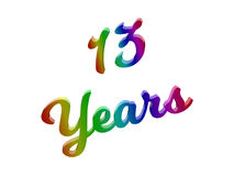 13 Years Anniversary, Holiday Calligraphic 3D Rendered Text Illustration Colored With RGB Rainbow Gradient. Isolated On White Background stock illustration