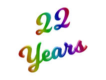 22 Years Anniversary, Holiday Calligraphic 3D Rendered Text Illustration Colored With RGB Rainbow Gradient. Isolated On White Background stock illustration