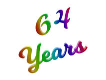 64 Years Anniversary, Holiday Calligraphic 3D Rendered Text Illustration Colored With RGB Rainbow Gradient. Isolated On White Background Stock Images