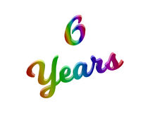6 Years Anniversary, Holiday Calligraphic 3D Rendered Text Illustration Colored With RGB Rainbow Gradient. Isolated On White Background Royalty Free Stock Photo