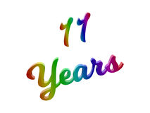 11 Years Anniversary, Holiday Calligraphic 3D Rendered Text Illustration Colored With RGB Rainbow Gradient. Isolated On White Background stock illustration