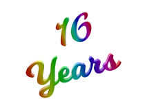 16 Years Anniversary, Holiday Calligraphic 3D Rendered Text Illustration Colored With RGB Rainbow Gradient. Isolated On White Background stock illustration