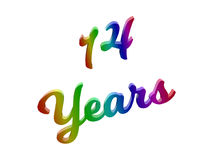 14 Years Anniversary, Holiday Calligraphic 3D Rendered Text Illustration Colored With RGB Rainbow Gradient. Isolated On White Background royalty free illustration