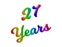 27 Years Anniversary, Holiday Calligraphic 3D Rendered Text Illustration Colored With RGB Rainbow Gradient. Isolated On White Background Stock Illustration