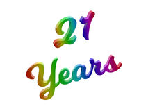 21 Years Anniversary, Holiday Calligraphic 3D Rendered Text Illustration Colored With RGB Rainbow Gradient. Isolated On White Background Royalty Free Stock Photography