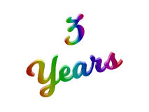 3 Years Anniversary, Holiday Calligraphic 3D Rendered Text Illustration Colored With RGB Rainbow Gradient. Isolated On White Background Royalty Free Stock Photos
