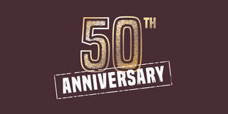 50 years anniversary  icon, logo. Graphic design element with golden stamp for 50th anniversary decoration Royalty Free Stock Images