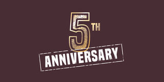 5 years anniversary icon, logo. Graphic design element with golden stamp for 5th anniversary decoration stock illustration