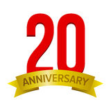 20 years anniversary icon. Vector sign isolated on white background. Design element for celebration party Stock Image