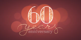 60 years anniversary  illustration. Banner, flyer, icon, symbol, sign, logo. Graphic design element with bokeh effect for 60th anniversary, birthday card Royalty Free Stock Photography