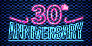 30 years anniversary  illustration, banner, flyer, logo. Icon, symbol, advertisement. Graphic design element with vintage style neon font for 30th anniversary Stock Images