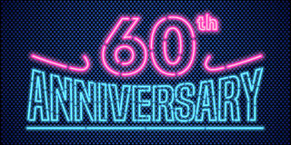 60 years anniversary  illustration, banner, flyer, logo. Icon, symbol, advertisement. Graphic design element with vintage style neon font for 60th anniversary Royalty Free Stock Image