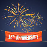 15 years anniversary  illustration, banner, flyer, logo Stock Photos