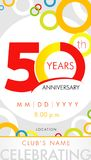 50 years anniversary invitation card, celebration template concept. 50th years anniversary modern design elements with background colored circles. Vector Stock Image
