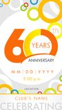 60 years anniversary invitation card, celebration template concept. 60th years anniversary modern design elements with background colored circles. Vector Vector Illustration