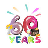 60 years anniversary invitation card. Vector illustration Royalty Free Stock Image