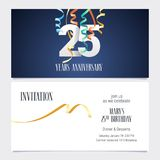 25 years anniversary invitation vector. 25 years anniversary invitation to celebrate the event vector illustration. Design template element with number and text Royalty Free Stock Photos
