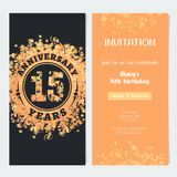 15 years anniversary invitation to celebration event vector illustration. Design element with gold color number and text for 15th birthday card, party invite stock illustration