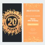 20 years anniversary invitation to celebration event vector illustration. Design element with gold color number and text for 20th birthday card, party invite Stock Illustration