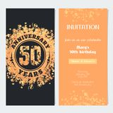 50 years anniversary invitation to celebration event vector illustration. Design element with gold color number and text for 50th birthday card, party invite Royalty Free Stock Images