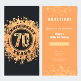 70 years anniversary invitation to celebration event vector illustration. Design element with gold color number and text for 70th birthday card, party invite Royalty Free Stock Photos