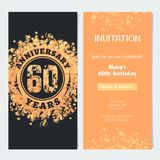 60 years anniversary invitation to celebration event vector illustration. Design element with gold color number and text for 60th birthday card, party invite Royalty Free Stock Images