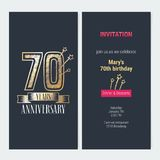 70 years anniversary invitation vector. 70 years anniversary invitation to celebration event vector illustration. Design with gold number and bodycopy for 70th Royalty Free Stock Image