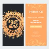 25 years anniversary invitation to celebration event vector illustration. Design element with gold color number and text for 25th birthday card, party invite Stock Images