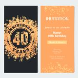 40 years anniversary invitation to celebration event vector illustration. Design element with gold color number and text for 40th birthday card, party invite Stock Photography