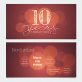 10 years anniversary invitation to celebration vector illustration. Graphic design element with bokeh effect for 10th birthday card, party invite Stock Images