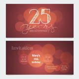 25 years anniversary invitation to celebration vector illustration. Graphic design element with bokeh effect for 25th birthday card, party invite Royalty Free Stock Photo