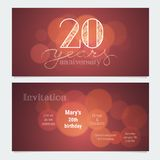 20 years anniversary invitation to celebration vector illustration. Graphic design element with bokeh effect for 20th birthday card, party invite Stock Image
