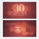 30 years anniversary invitation to celebration vector illustration. Graphic design element with bokeh effect for 30th birthday card, party invite Royalty Free Stock Images