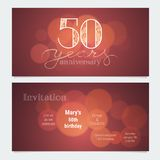 50 years anniversary invitation to celebration vector illustration. Graphic design element with bokeh effect for 50th birthday card, party invite stock illustration
